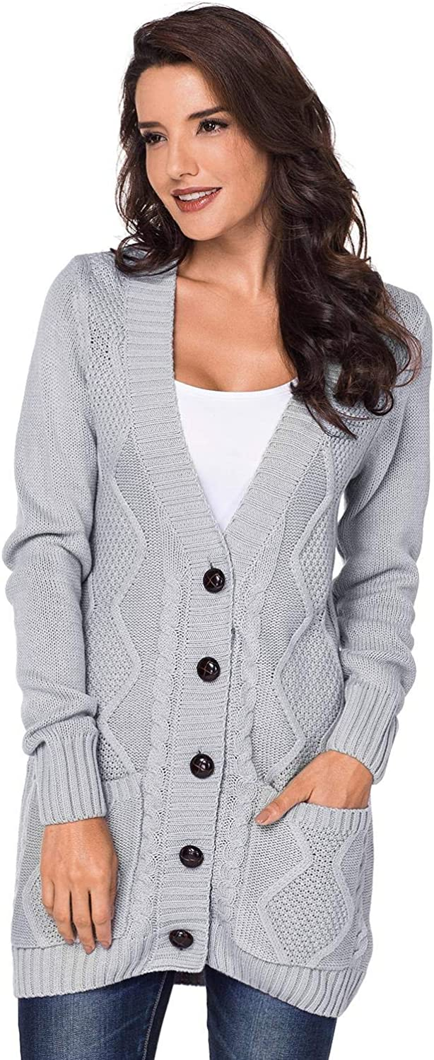Chvity Women's Open Front Long Knit Sweat Button Max 41% OFF Sleeve Cardigan Jacksonville Mall