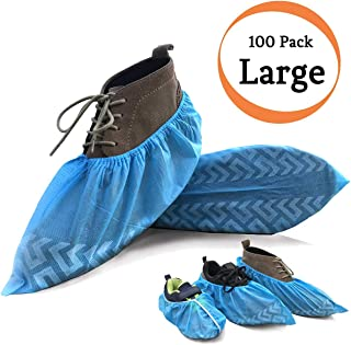 Shoe Covers Disposable Extra-Large - Fits up to US Men's 11+ / Women's 12+, Non-Slip, Recyclable, Durable, Blue, Stretchable, 100 Pack (50 Pairs) Boot Covers for Home, Indoors, Travel