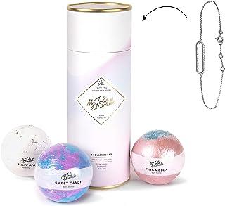 My Jolie Candle - Coffret de 3 boules de bains effervescentes Happy Moments - Bijou surprise à l'intérieur : Bracelet en A...