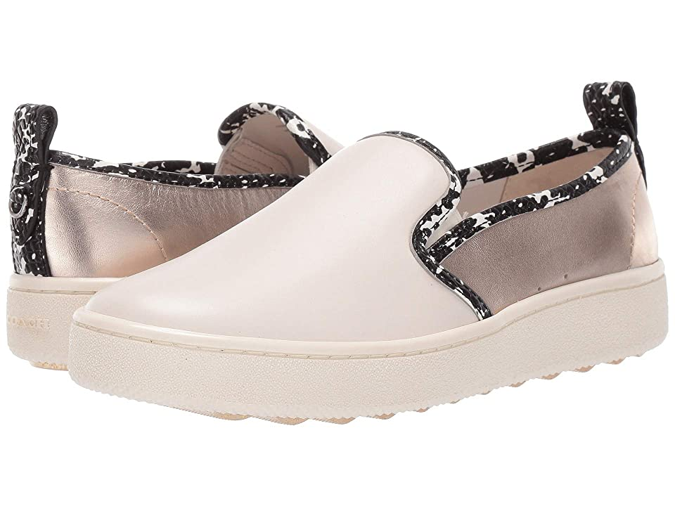 COACH C115 Slip-On Sneaker with Printed Snake (Chalk/Natural/Champagne) Women