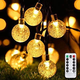 SETIFUNI Globe String Light,24.6 Feet 50LED Crystal Ball String Lights Waterproof with Remote&Timer Battery Operated Fairy String Lights for Indoor&Outdoor,Wedding,Party ,Home,Garden(Warm White)