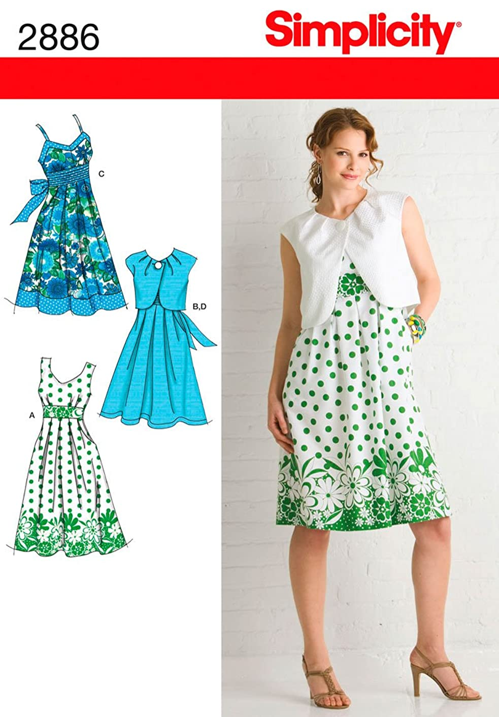Simplicity Pattern 2886 Dress with Bodice Variations and Bolero Size 6-8-10-12-14