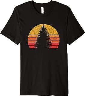 Retro Sun Minimalist Pine Tree Design - Graphic 80's Premium T-Shirt