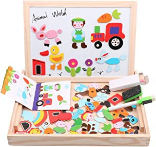 Diwenhouse Wooden Magnetic Jigsaw Puzzles Toy, Toddler Toys Educational Travel Puzzle Games Double Sided Drawing Easel for Boys and Girls (Animal)