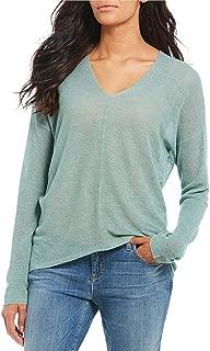 Eileen Fisher ELM Organic Linen Tencel V- Neck Box-Top Size S/P MSRP $158