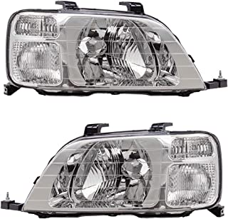 Driver and Passenger Headlights Headlamps Replacement for 1997-2001 CR-V 33151S10A01 33101S10A01