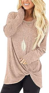 Sieanear Women's Casual Short Sleeve T-Shirt Tops Twist Knot Front Tunics