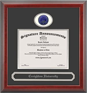 Signature Announcements Creighton University (CU) Doctorate Graduation Diploma Frame with Sculpted Foil Seal & Name (Cherry, 20 x 20)