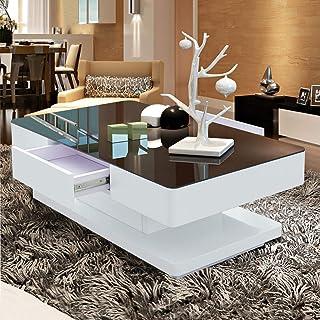 TUKAILAI Woonkamer hoogglans glazen salontafel met zwart gehard glas en 2 schuifladen groot rechthoekig sofa einde theetaf...