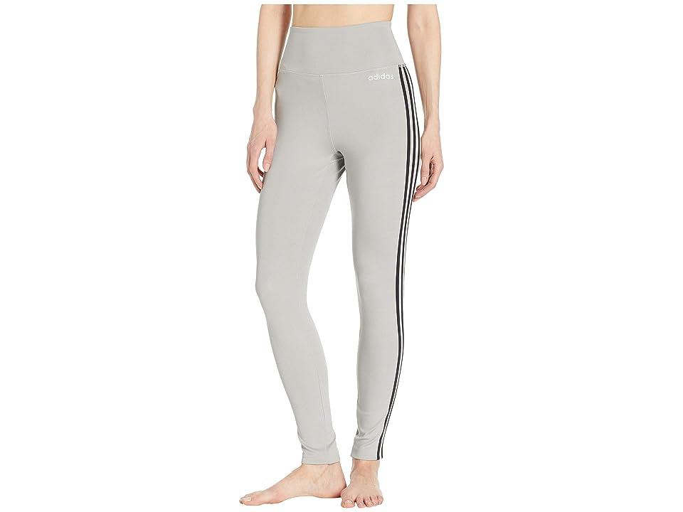 adidas Designed-2-Move High-Rise Long 3-Stripes Tights (Medium Grey Heather) Women's Casual Pants, Gray