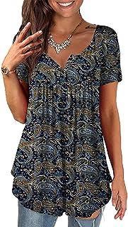 BAINA Vrouwen T-shirts Vintage Bloemenprint T-Shirts Dames Casual V-hals Zomer Korte Mouw Tops Losse Blouse Tuniek Blouse ...