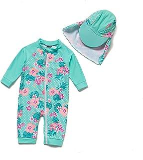 BONVERANO Baby Girls Sunsuit UPF 50+ Sun Protection One Piece Swimsuit with Full-Length Zipper Ruffle