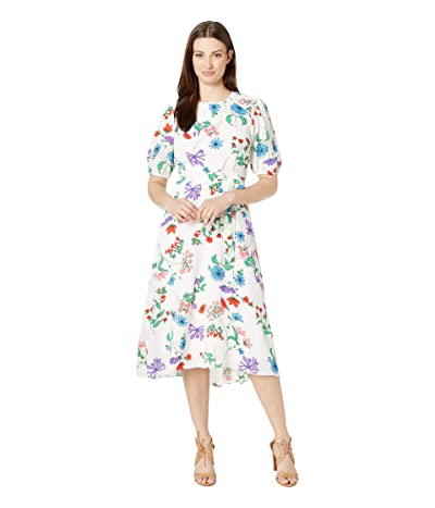 Donna Morgan 3/4 Sleeve Bubble Crepe Dress with Smocked Shoulders and Self Belt (White/Blue Cadet Multi) Women