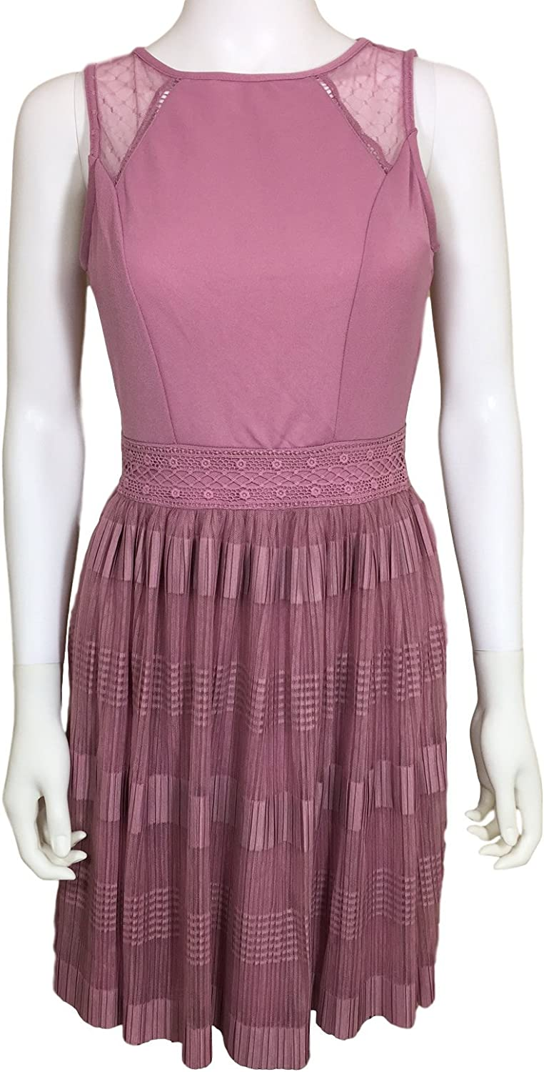 Hint of Mint pink Lace and Pleated Swing Skirt Light Plum Dress