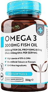 Omega 3 Visolie 2000mg met 660mg EPA & 440mg DHA per Portie - 240 Capsules met Hoge Dosis Pure Visolie - DHA en EPA voor n...