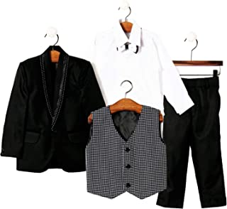 Jeet Creation Boys Black Coat Suit with Waistcoat, Shirt, Bow and Trouser Set (9059RH)