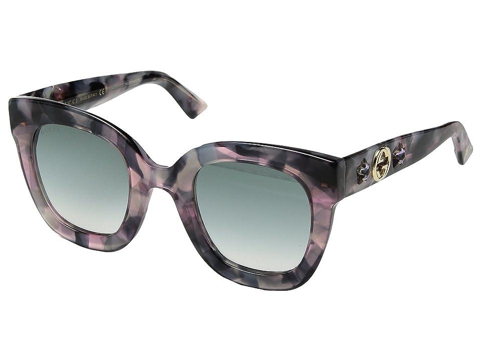 Gucci GG0208S (Pink Havana/Grey) Fashion Sunglasses