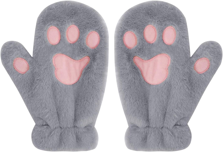 Cat Paw Claw Winter Thick Warm Gloves Boys Girls Plush Ski Mittens Hand Warmer