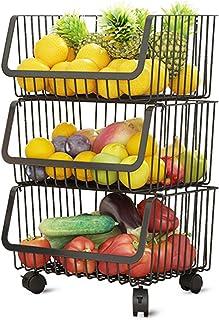 Aikzik Lot de paniers de rangement empilables en métal - Grand panier de rangement ouvert avec poignées - Pour cuisine, ga...