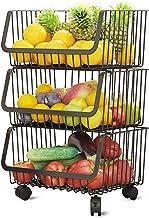 Aikzik Fruitgroentemand met wiel, 3-traps groentemand zwart roestvrij staal afneembare fruitmand serveermand wagen groent...