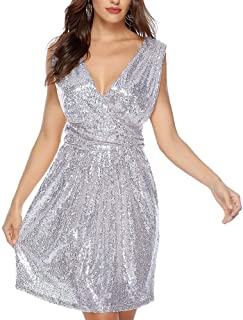 Ladies Dress Women's Sequins V-Sleeve Sleeveless Mid-Length Dress Sexy Dress Slim Sexy Skirt (Color : Silver, Size : XXL)