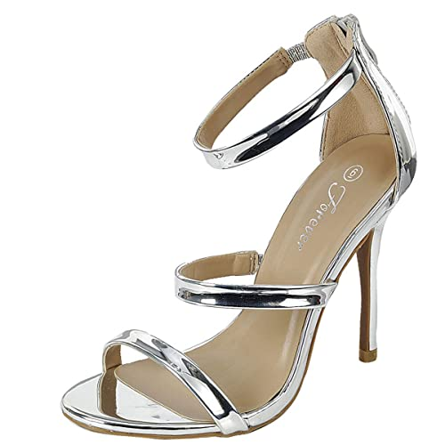 548f18583b6 Forever Womens Open Toe Elastic Ankle Strap Stiletto High Heel Back Zipper  Mary Jane Pump Sandals