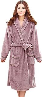 HoneyStore Women's Shawl Collar Plush Kimono Fleece Lounge Terry Spa Bathrobe