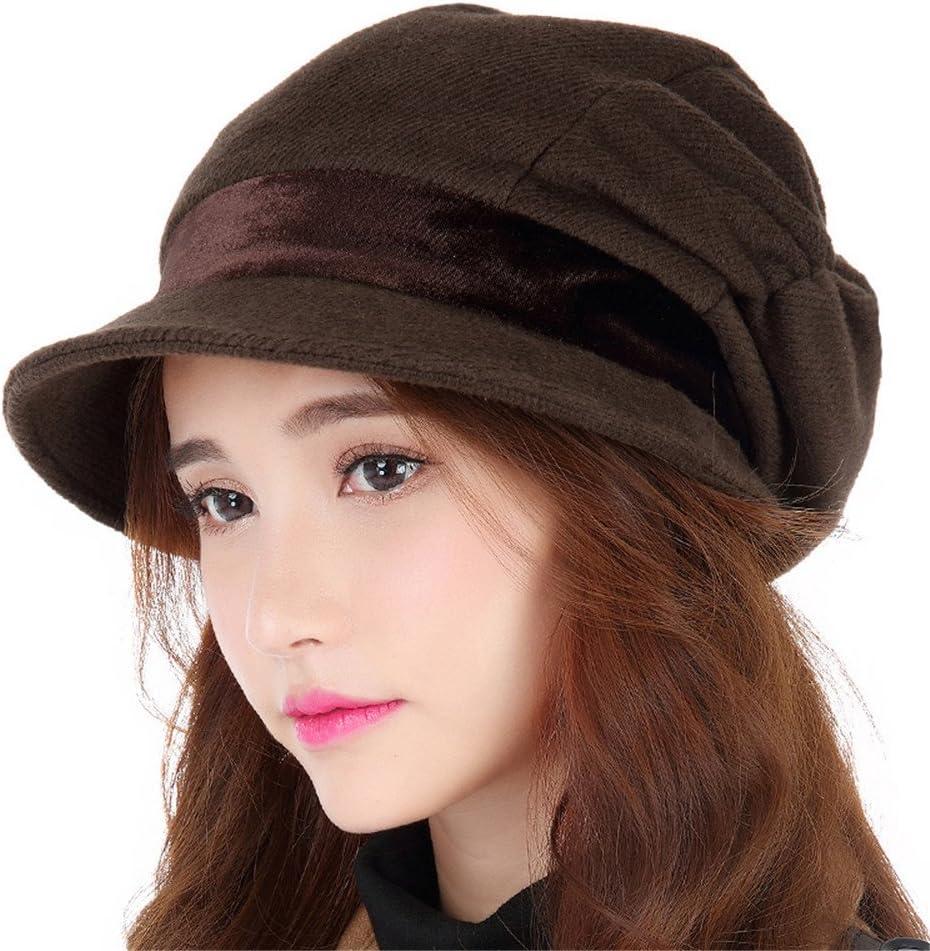 BTBTAV Autumn Girl Children Fashion Leisure Hat Beret All-Match Autumn Winter Lady Winter Hat,S (54-56cm) Regulation of Sweat Band,Coffee