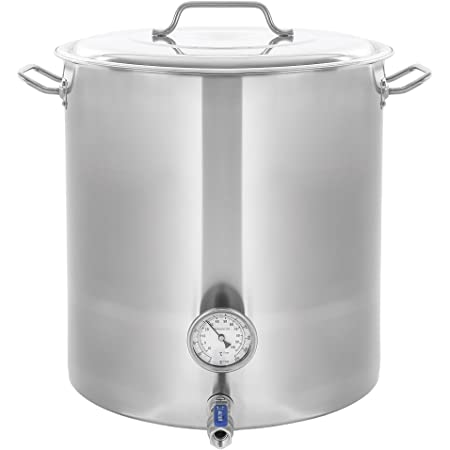 CONCORD Stainless Steel Home Brew Kettle Stock Pot (Weldless Fittings) (20 QT/ 5 Gal)
