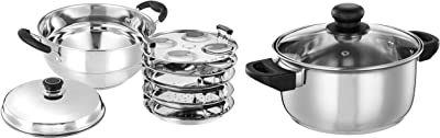 Amazon Brand - Solimo Stainless Steel Induction Bottom Multi Kadai with 5 Plates and Solimo Stainless Steel Induction Bottom Dutch Oven with Glass Lid (20cm, 3 litres)