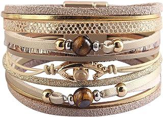 Jeilwiy Baroque Pearl Leather Cuff Bracelet Multi Strand Wrap أساور مغناطيسية بوهيمية للنساء، الزوجة، الأخت