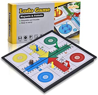 Quadpro Magnetic Ludo Board Game Set with Folding Board Classic Travel Games for Kids and Adults