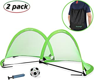 SteadyDoggie Soccer Goal Bundle 3pc | Pop Up Soccer Nets Qty 2 | Nylon Wound Soccer Ball Size 4 with Pump | Carry Bag String Knapsack | Super Portable 4/6 Foot - Kids Soccer Training Nets