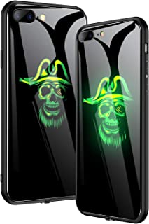 NASKY iPhone 7/8 Plus Case, Light Will Flash in According to The Music,Ultra Thin Tempered Glass Smart iPhone Cover Case (Skull, iPhone 7/8plus)