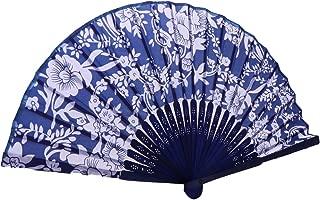 Baoblaze Pattern Folding Dance Wedding Party Lace Folding Hand Held Blue Flowers Fan