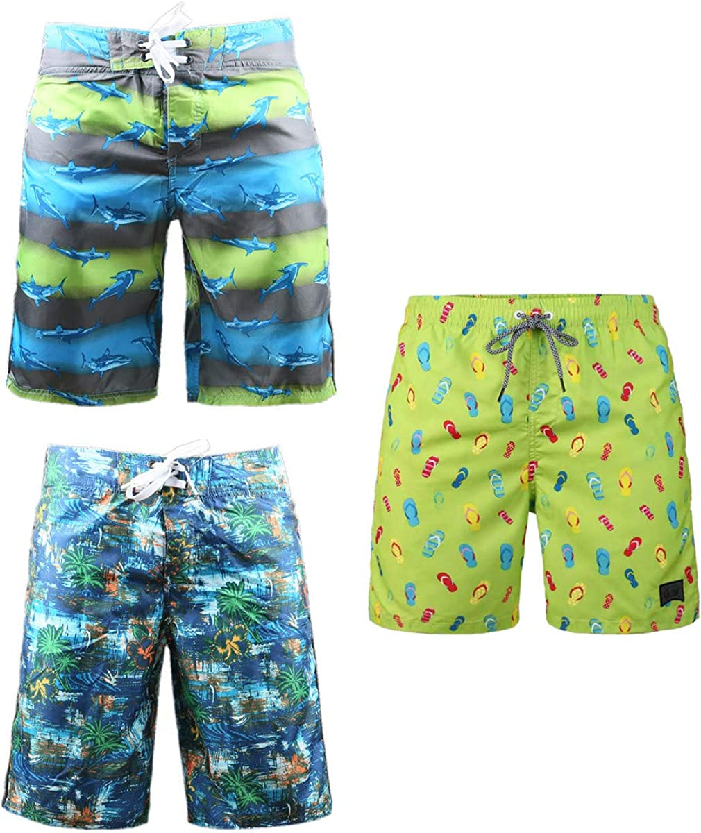 Challenge the lowest price 3-Pack Men's Board Shorts with Beach Smoot Blue excellence Vacation Pockets