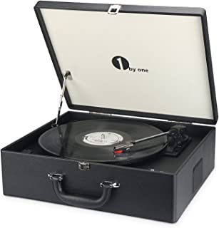 1byone Suit-case Style Turntable Wireless Streaming with Speaker, Vinyl-to-MP3 Recording, Belt Driven Vinyl Record Player, Black