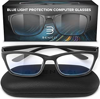 Stylish Blue Light Blocking Glasses for Women or Men - Ease Computer and Digital Eye Strain, Dry Eyes, Headaches and Blurry Vision - Instantly Blocks Glare from Computers and Phone Screens w/Case