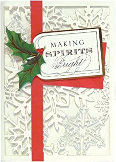 Handmade Dimensional Laser Cut Snowflake Boxed Holiday Cards with Silver Foil Embellishments By Anna Griffin -- Set of 10 Cards and Envelopes