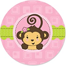 Pink Monkey Girl - Baby Shower or Birthday Party Circle Sticker Labels - 24 Count