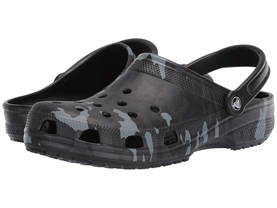 Crocs Classic Seasonal Graphic Clog (Black/Grey) Clog/Mule Shoes