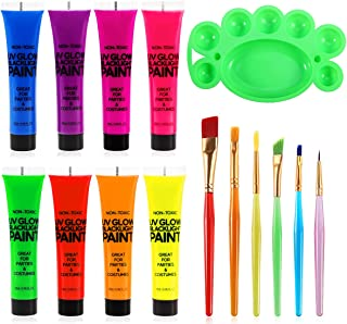 Glow in the Dark Paint for Body Face: Body Blacklight Paint (0.95 fl.oz each) Neon UV Makeup Painting for Party Cosplay Bi...
