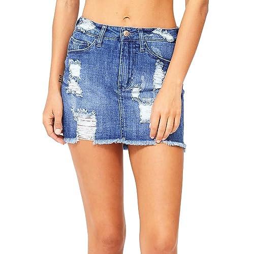 35ce21c2ef Celebrity Pink Women's Juniors Mid Waist Distressed Denim Mini Skirt