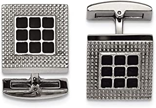Lex & Lu Chisel Stainless Steel Polished Black Rubber Square Cuff Links LAL41260