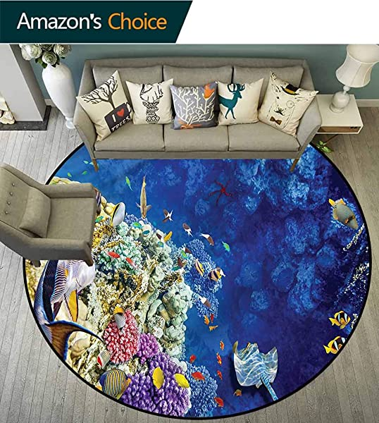 RUGSMAT Ocean Super Soft Circle Rugs For Girls Untouched Aquatic World View Bedroom Home Shaggy Carpet Diameter 47