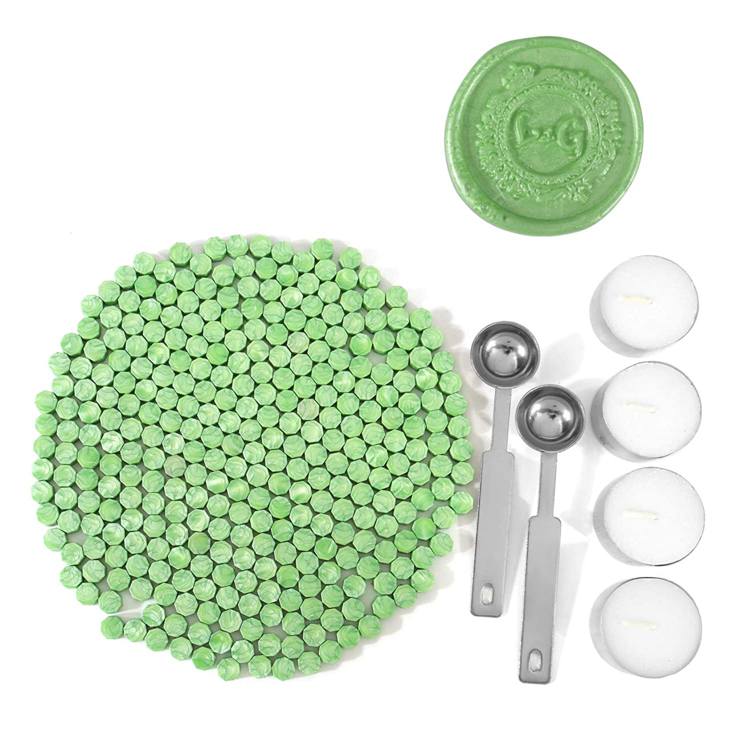 Green Wax Seal Beads, Yoption 300 Pieces Octagon Sealing Wax Sticks Beads with 4 Candles and 2 Melting Spoons for Seal Stamp (Green)