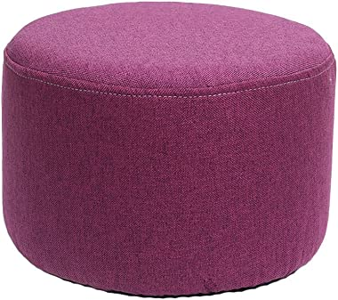 WZ Ottomans Footstool Upholstered Ottoman Round Pouffe Children's Toy Stool Living Room Bedroom (Color : Red)