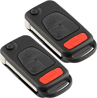 Discount Keyless Entry Remote Uncut Car Key Fob Case Flip Shell Cover Button Pad (2 Pack)