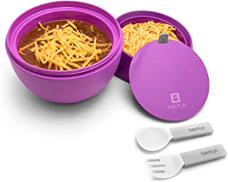 Bentgo Bowl (Purple) – Insulated, BPA-Free Lunch Container with Collapsible Utensils Set – Leakproof Bowl Holds Soups, Stews, Noodles, Hot Cereals & More On-the-Go