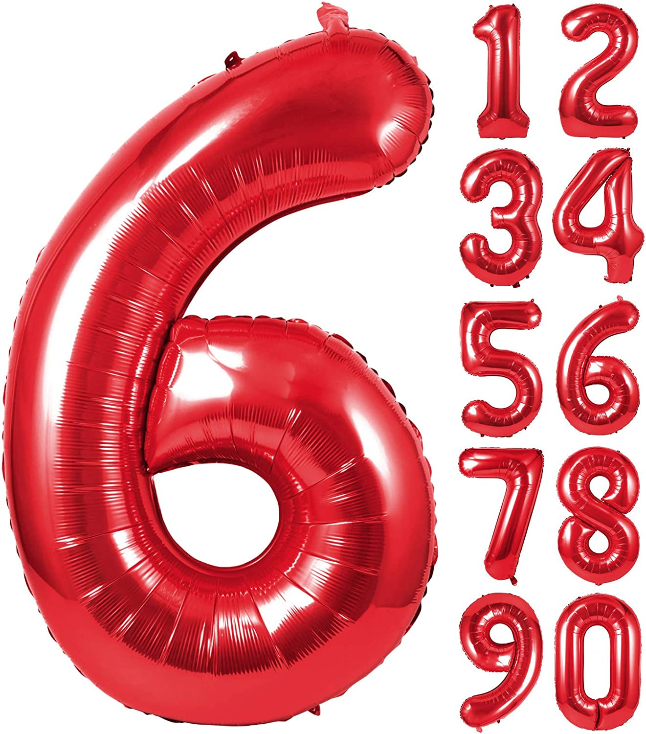 Single Red Large Number 6 Helium Foil Mylar Big Balloon for Birthday Party and Baby Shower Decorations 40 Inch Red Number Balloons